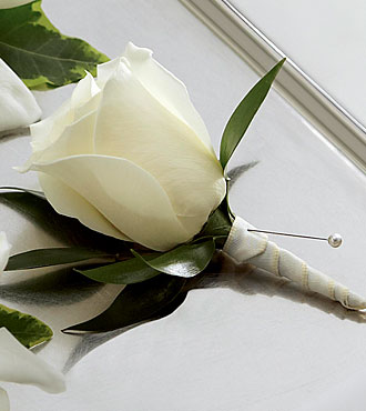 The FTD White Rose Boutonniere