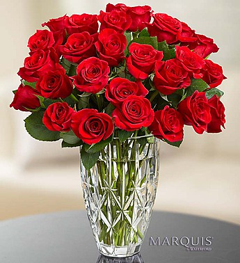 Red Roses In Marquis By Waterford Vase Judys Village Flowers