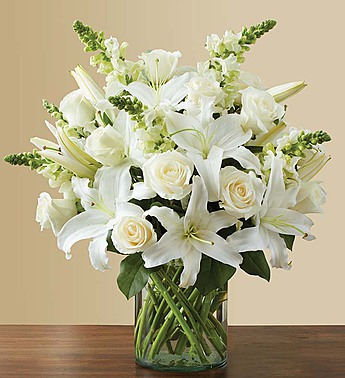 Classic All White Arrangement For Sympathy Judy S