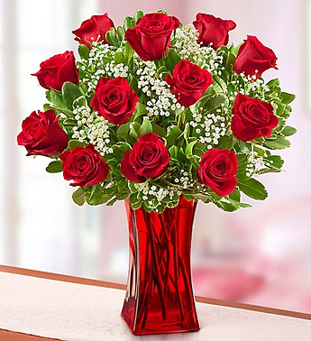 Blooming Love Premium Red Roses In Red Vase Judys Village Flowers