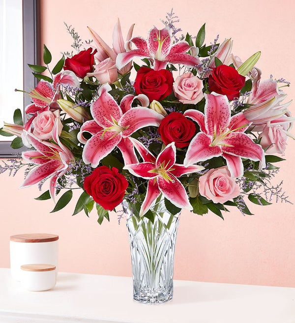 Marquis By Waterford Blushing Rose And Lily Bouquet Judy S Village Flowers Foxboro Ma