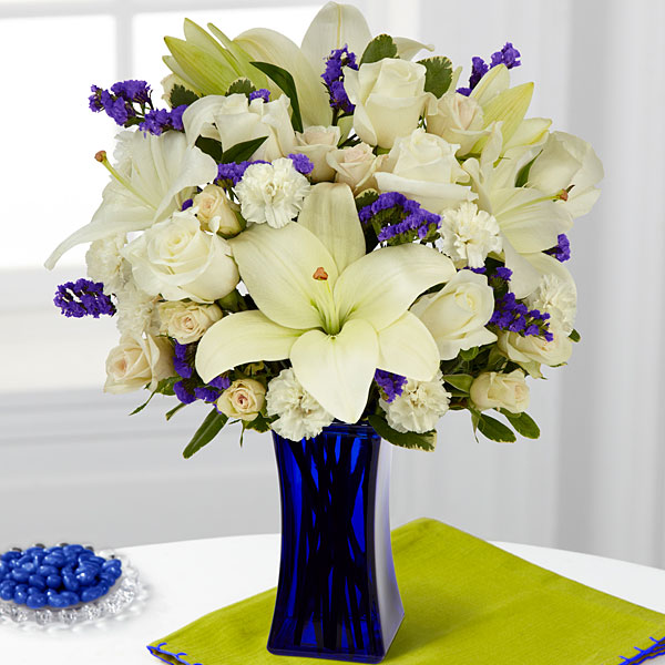 The FTD Beyond Blue Bouquet – VASE INCLUDED | Judy\'s Village Flowers