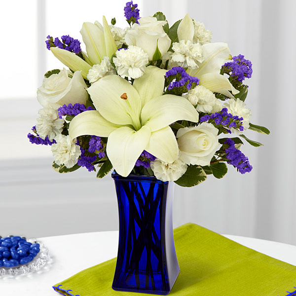 The Ftd Beyond Blue Bouquet Vase Included Judy S Village Flowers